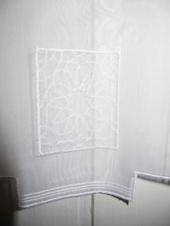 Scheibengardine hochwertig Stickerei Weiss Blüte 45 cm H oder 60 cm H/ Br. ab 1 Meter