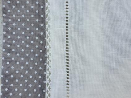 Tischdecke Landhaus Grau Weiß gepunktet mit Hohlsaum 85 x 85 - Vorschau 4