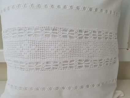 Kissen Weiß Leinen mit Baumwolle Häkel Shabby Chic 40x40 ungefüllt - Vorschau 2