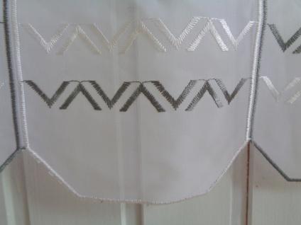 Scheibengardine Modern Weiß Grau 30, 45 cm o. 60 cm Höhe/ Br. ab 1 Meter - Vorschau 2