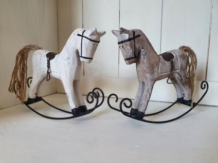 Deko Schaukelpferd Paar Weiß Natur Holz Metall B 16 x T 3 x H 12 cm