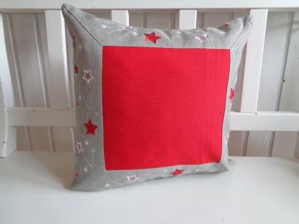 Kissen Weihnachten Rot Grau Silber Sternchen 40x40 ohne Füllung