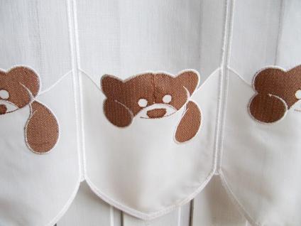 Scheibengardine Teddybär Creme Braun Stick 45 cm hoch