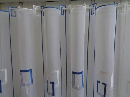Scheibengardine Weiß Blau Grafisches Muster 30 cm o. 60 cm Höhe/ Br. ab 1 Meter - Vorschau 3
