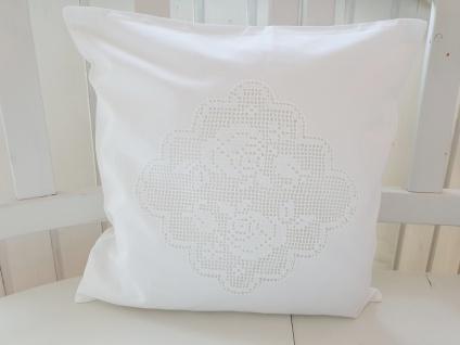 Kissen Weiß Baumwolle Rosen Häkel Shabby Chic 40x40 ungefüllt