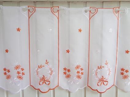 Scheibengardine Weiß Orange Stick 45 cm Höhe/ Br. ab 1 Meter
