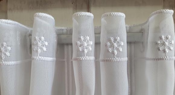 Scheibengardine Landhaus Weiß Bauernhausstil Blumen Stick 45 cm H ab 1 M