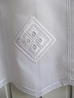 Scheibengardine Weiß Raute Stick 45 oder 60 cm Höhe