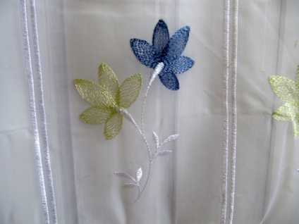 Scheibengardine Blumen Grün Blau 45 oder 60cm H / Br. ab 1 Meter