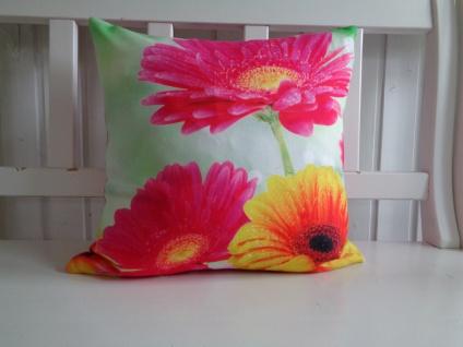 Kissen Kissenhülle Blumen Sommer Pink Grün ohne Füllung 45x45