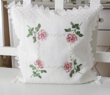 Kissen Weiß Landhaus mit Häkelspitze Rosen Shabby Chic 40x40 ohne Füllung