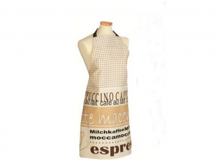 Schürze Kochschürze Natur Braun Kaffeethema 80x85