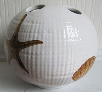 Zahnbürstenhalter Muscheln Seesterne Creme Sea Keramik