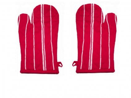 Ofenhandschuh gestreift Rot 1 Paar