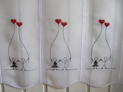 Scheibengardine Weiß Rot Schwarz Liebe Herzluftballons Stick 45cm Höhe/ Br. ab 1 Meter