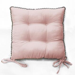 Stuhlkissen 2 er Pack Rosa Vintage Landhaus Shabby Chic 40x40 mit Häkelbordüre