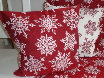 Dekokissen Weihnachten Flocken Rot/Sekt oder Sekt/Rot 40x40 ohne Füllung
