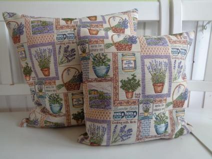 Kissen Kissenhülle Landhaus LAVENDEL Kräuter Herbs Provence Natur 40x40 oder 50x50