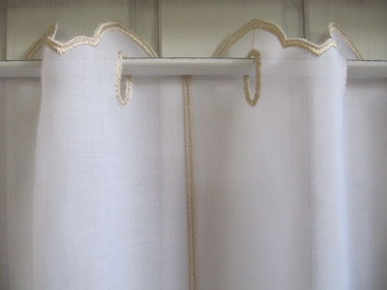 Scheibengardine Weiß, weiß matt oder Sekt Welle zarter Stick 45 cm H / Br. ab 1 Meter - Vorschau 5