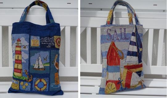 Tasche Tragetasche Beutel Maritim 2 Motive zur Auswahl Blau Rot Meer ca 30x40