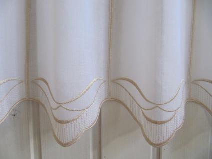 Scheibengardine Weiß, weiß matt oder Sekt Welle zarter Stick 45 cm H / Br. ab 1 Meter - Vorschau 4
