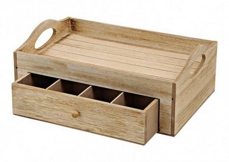 Aufbewahrungskästchen Teebox Box aus Holz 7 Fächer