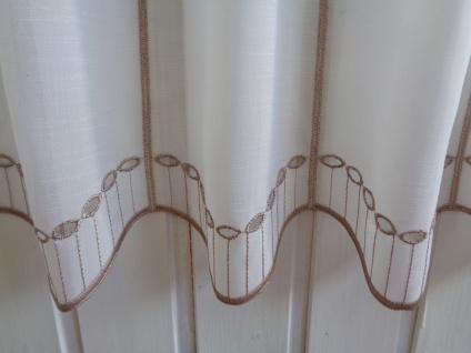 Scheibengardine Creme Taupe Lochstickung bestickt 45 cm oder 60 cm Hoch ab 1 Meter