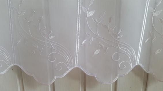 Scheibengardine Weiß Stick Blätterranke 45 cm o. 60 cm Höhe/ Br. ab 1 Meter