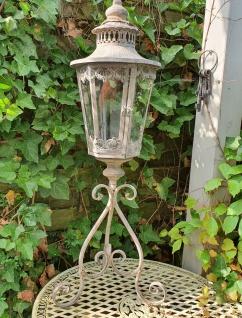 Laterne Windlicht Gartenlaterne Shabby Chic auf Fuß 33x28x93 cm
