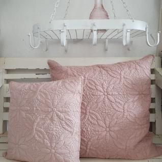 Kissen Landhaus Rosa Flora gesteppt 60x60 ungefüllt