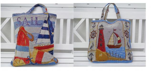 Strandtasche Shopper Beutel Maritim 2 Motive zur Auswahl Blau Rot Meer ca 30x40