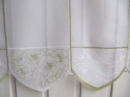Scheibengardine Weiß Grün Stick Blumen H 45 oder 60 cm / Br. ab 1 Meter