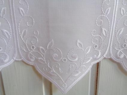 Scheibengardine Weiß Florentiner Muster bestickt 45 cm Hoch ab 1 Meter