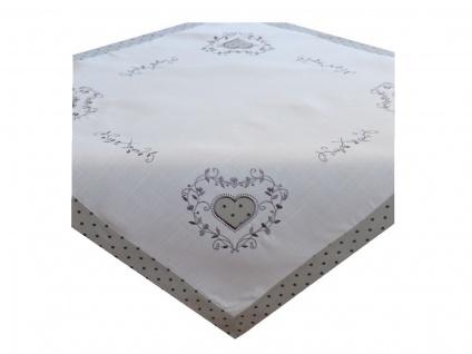 Tischdecke MitteldeckeLandhaus mit Applikation Herz Grau Weiß 85x85 cm