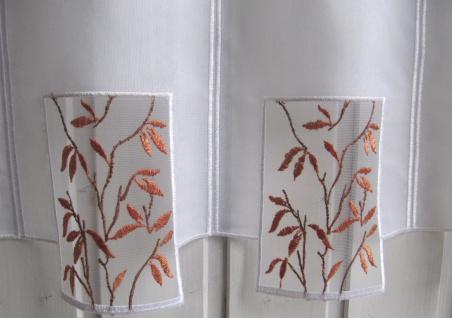 Scheibengardine Weiß Kupfer Stick Blätter H 45 oder 60 cm / Br. ab 1 Meter