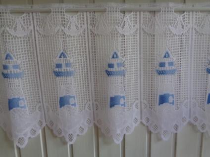 Scheibengardine Weiss Blau Leuchtturm 45 cm o. 60 cm Höhe/ Br. ab 1 Meter