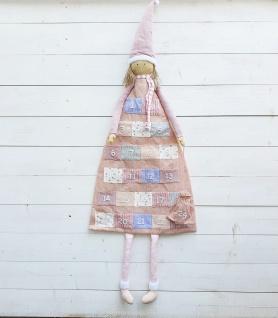 Adventskalender zum Befüllen Rosa Wintermädchen Patchwork H140 x 53 cm