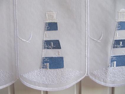 Scheibengardine Weiß Blau Leuchtturm Stick H 45 oder 60 cm / Br. ab 1 Meter
