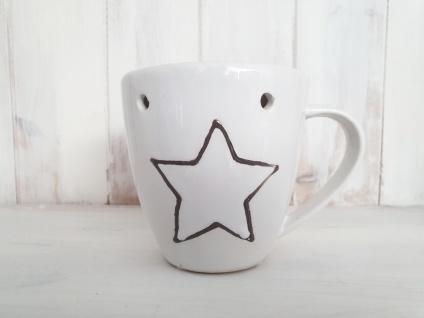Duftlampe Keramik Tassenform Weiß Sternmotiv 14 x Ø 10 cm
