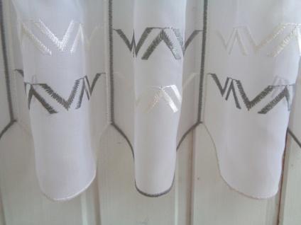 Scheibengardine Modern Weiß Grau 30, 45 cm o. 60 cm Höhe/ Br. ab 1 Meter - Vorschau 3
