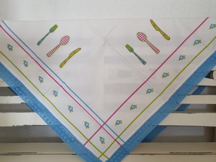 Tischdecke Mitteldecke mit Häkelspitze 90x90 Weiß Hellblau Küchenzauber