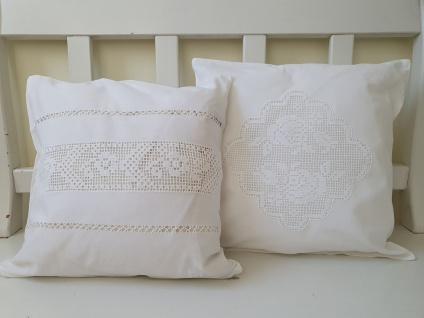 Kissen Weiß Leinen mit Baumwolle Häkel Shabby Chic 40x40 ungefüllt - Vorschau 3