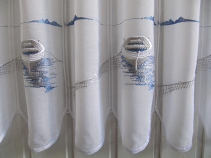 Scheibengardine Weiß Blau Stick Boot Wasser 45 cm Höhe/ Br. ab 1 Meter