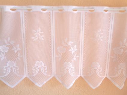 Scheibengardine Weiß Blumenmotiv 45 cm o. 60 cm Höhe/ Br. ab 1 Meter