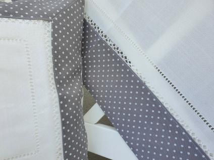 Tischdecke Landhaus Grau Weiß gepunktet mit Hohlsaum 85 x 85 - Vorschau 2
