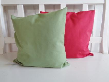 Kissen Kissenhülle Kombikissen Uni Baumwolle mit Teflonausrüstung Bordeaux oder Lindgrün 40x40 ohne Füllung