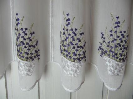Scheibengardine Weiß Lavendel 30 cm H / Br. ab 1 Meter