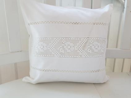 Kissen Dekokissen Weiß Baumwolle Häkel Shabby Chic 40x40 ungefüllt