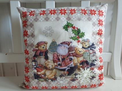 Kissen Weihnachten Teddy Nostalgie rot Natur 40x40 cm ohne Füllung