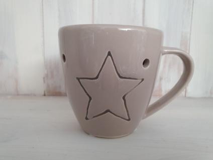 Duftlampe Keramik Tassenform Taupe Sternmotiv 14 x Ø 10 cm